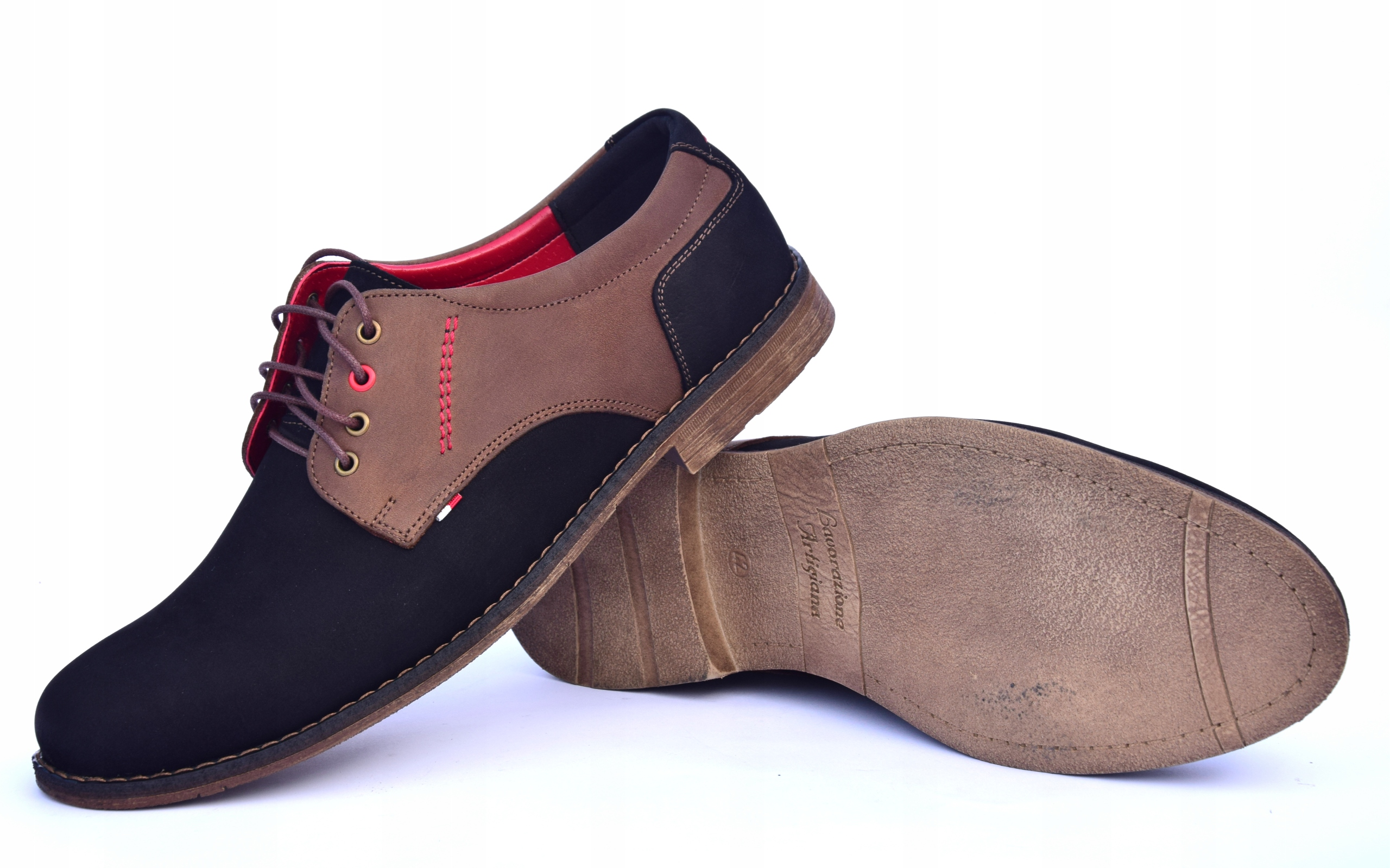 Buty skórzane męskie obuwie polskiej produkcji 258 Materiał zewnętrzny skóra naturalna nubuk