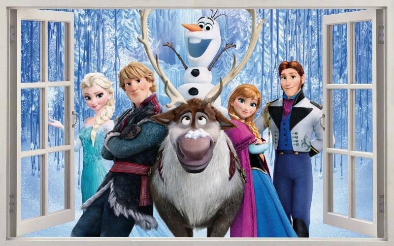 NÁLEPKY NA STENY Zmrazené okno Elsa 2
