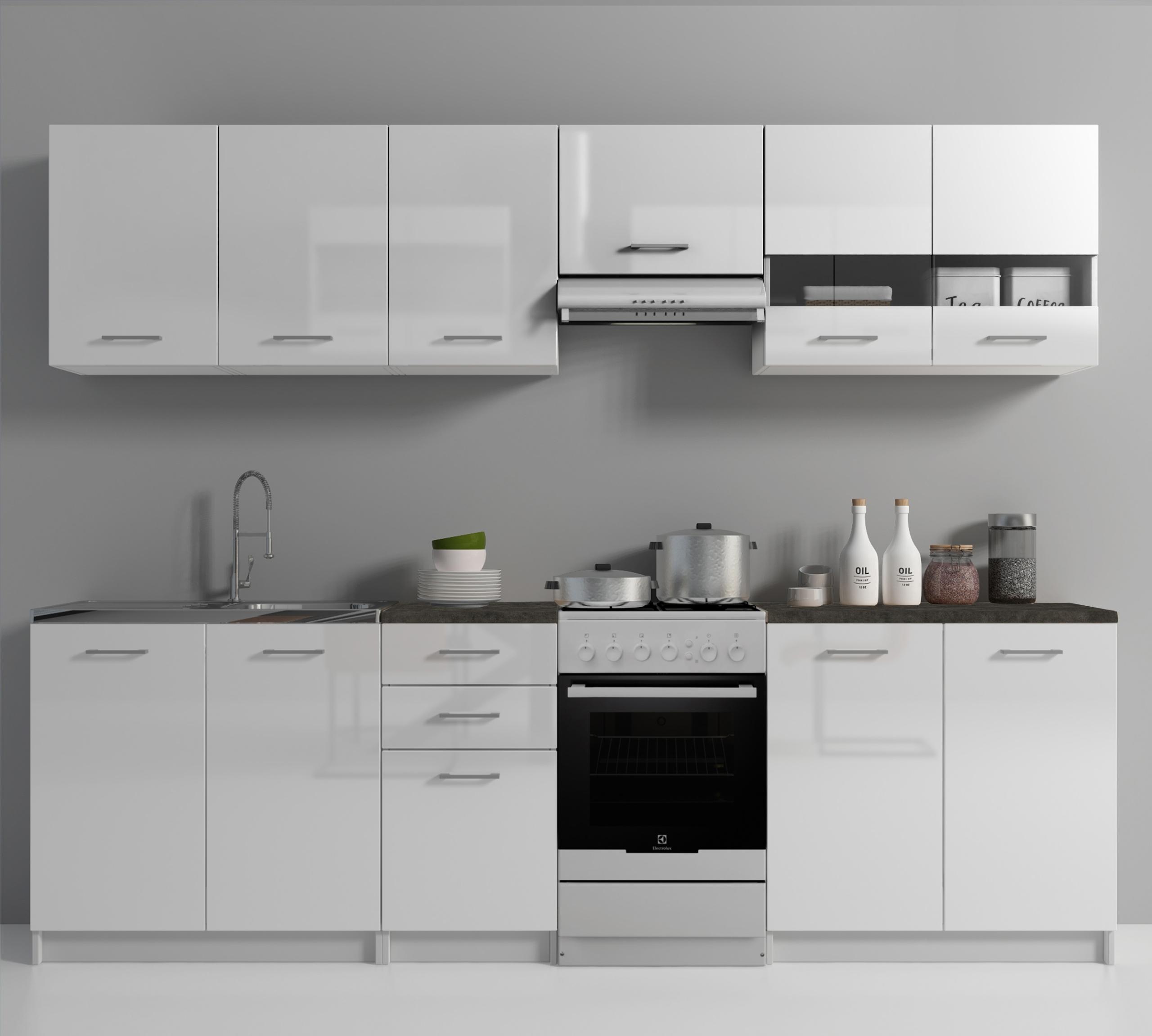 Sada kuchynského nábytku s lakovanými kuchynskými doskami
