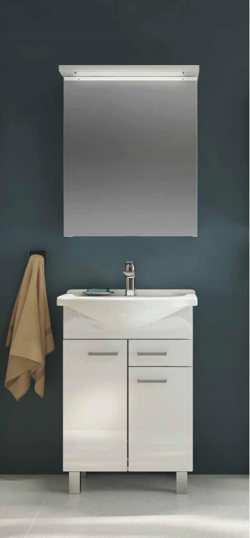 Zestaw szafka z umywalką + lustro led 65cm