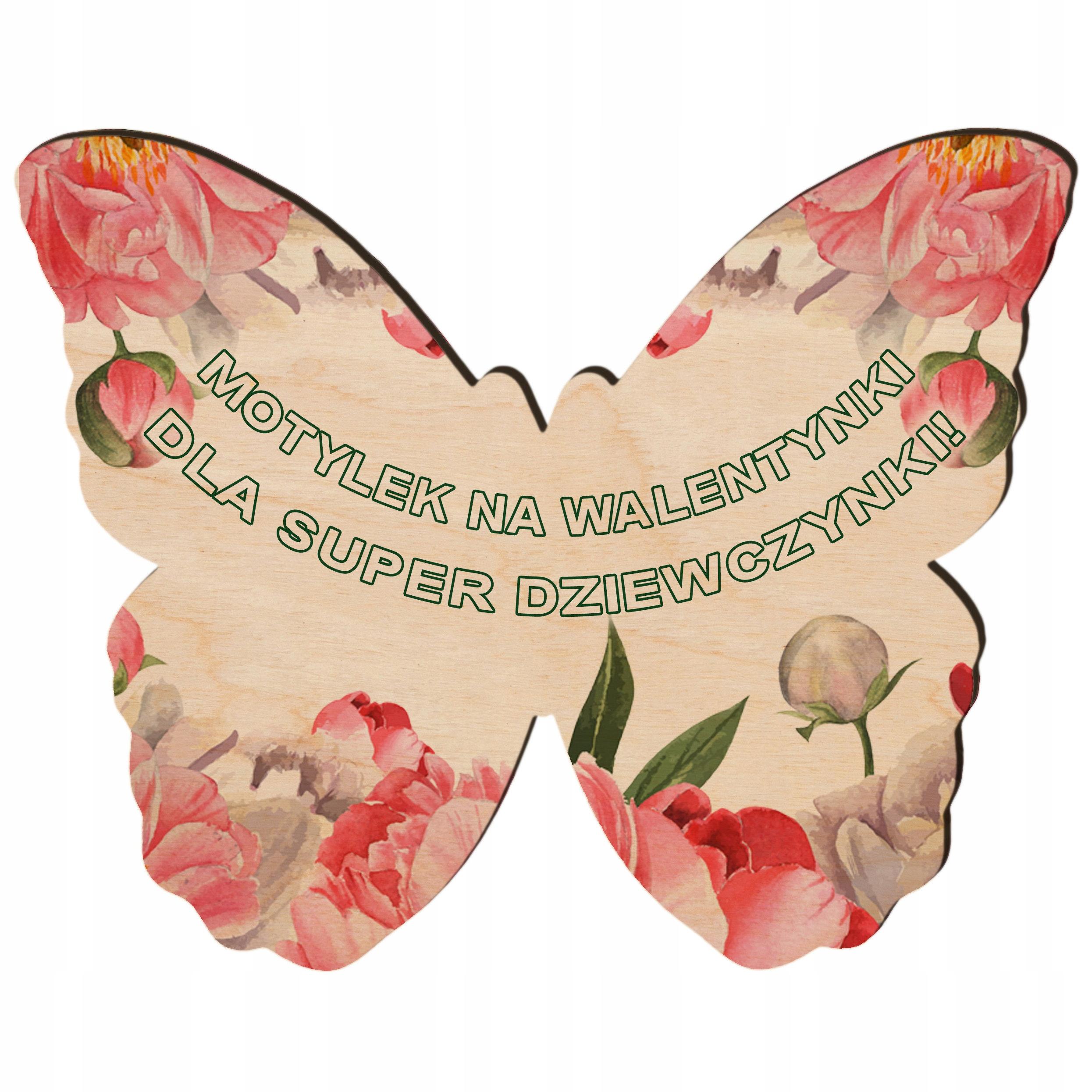 Pamiątka na Walentynki upominek drewniane motyle