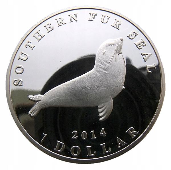 AUCKLAND ISLANDS 1 DOLLAR 2014 FOKA 40mm PROOF