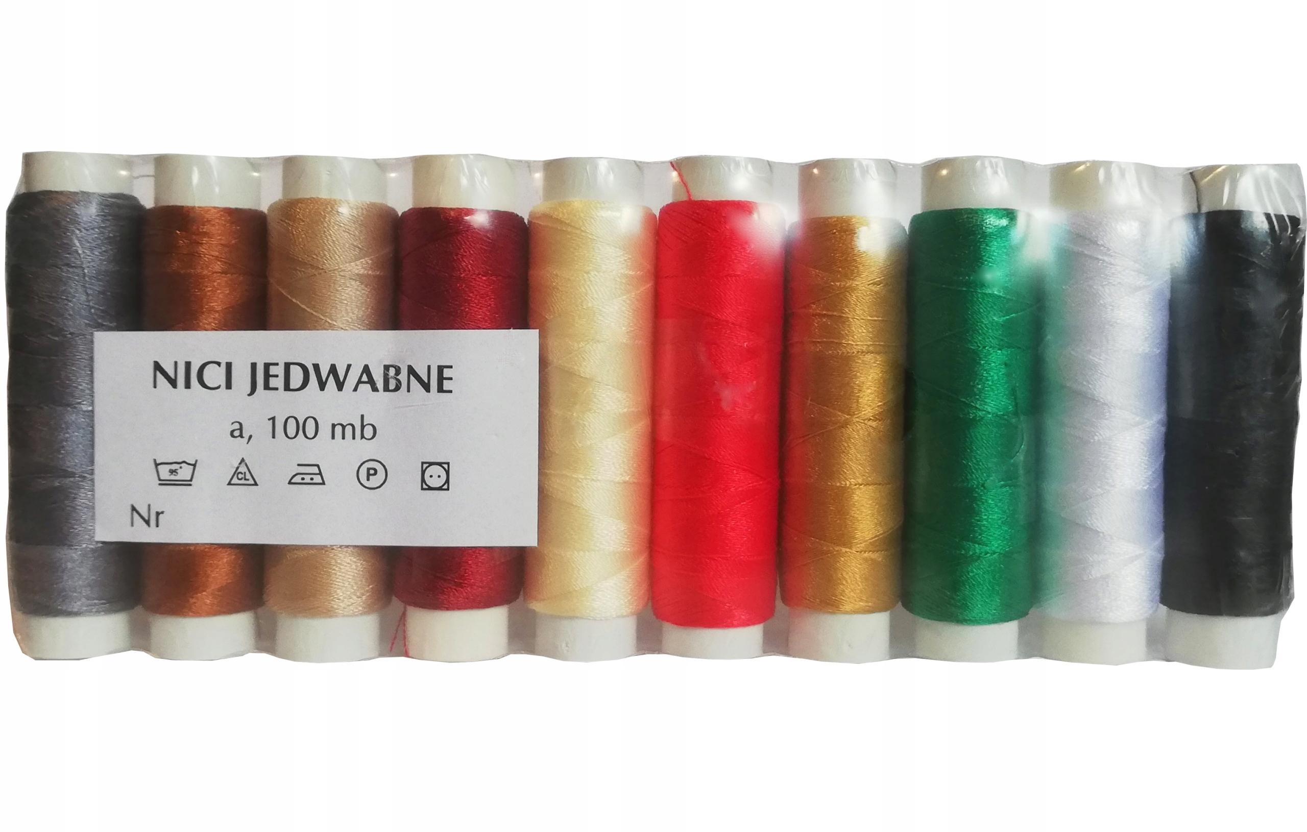 NICI do Szycia JEDWABIU Jedwabne Zestaw 10 Kolorów