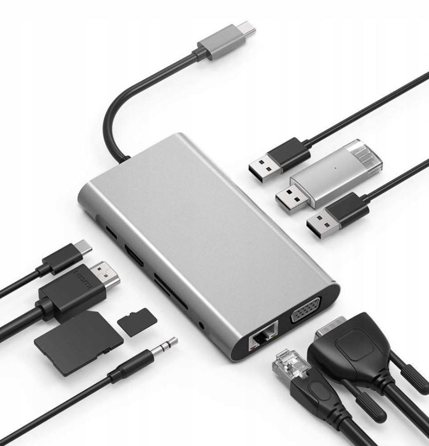HUB USB-C 11w1 Adapter HDMI 4K VGA Jack SD RJ45 M1