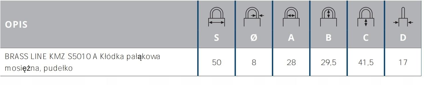 Kłódka Pałąkowa Mosiężna Gerda S50 Brass Line Informacje dodatkowe Odporność na warunki atmosferyczne Atest
