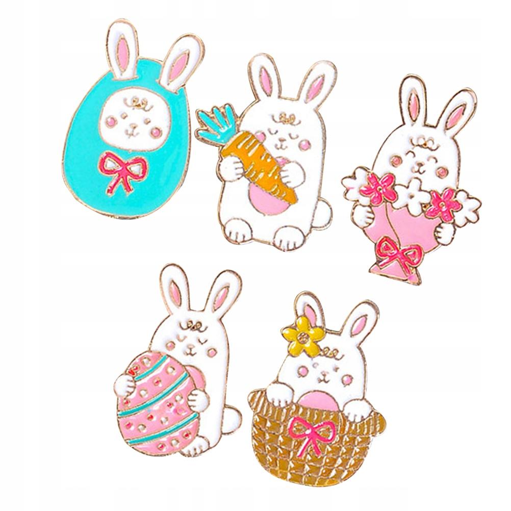 5шт Симпатичные кролики Шикарные вязаные броши У