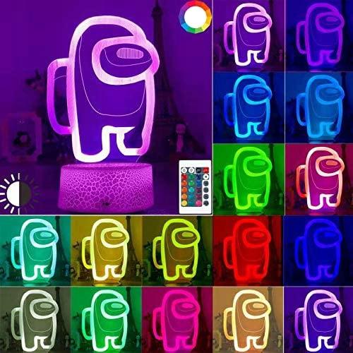 LAMPKA NOCNA 3D 16 KOLORÓW AMONG US PREZENT+PILOT