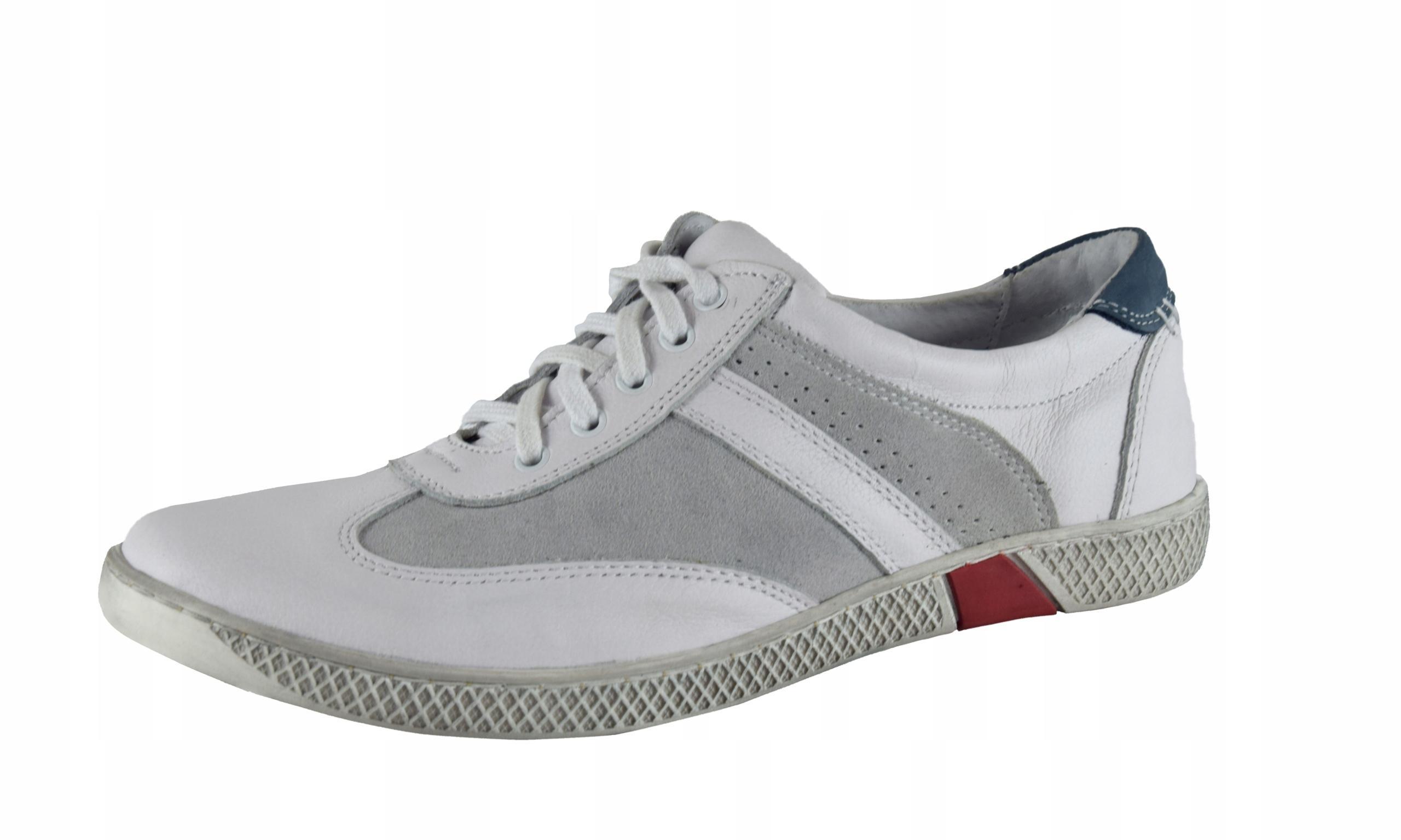 Skórzane męskie białe sznurowane buty męskie 0446