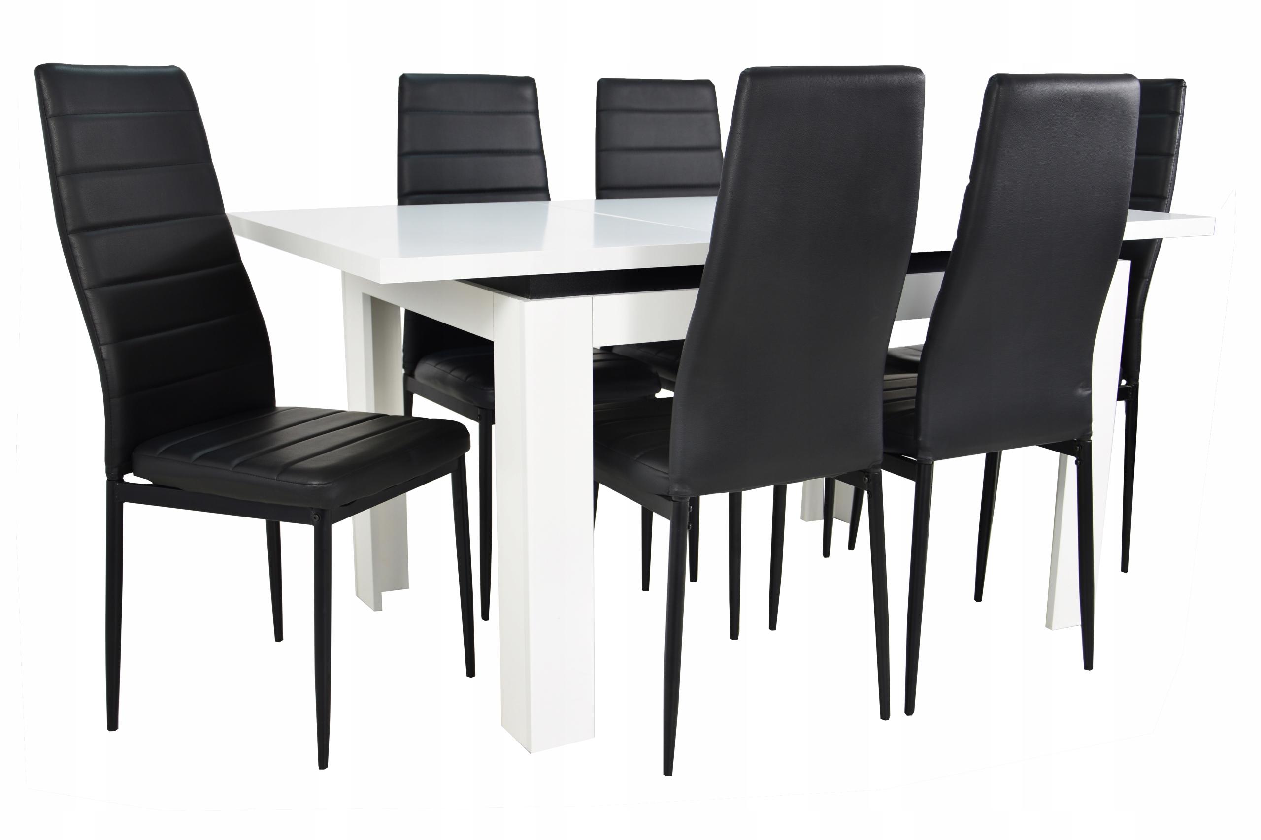 Stół rozkładany 80x120/160 Biały 6 krzeseł salon
