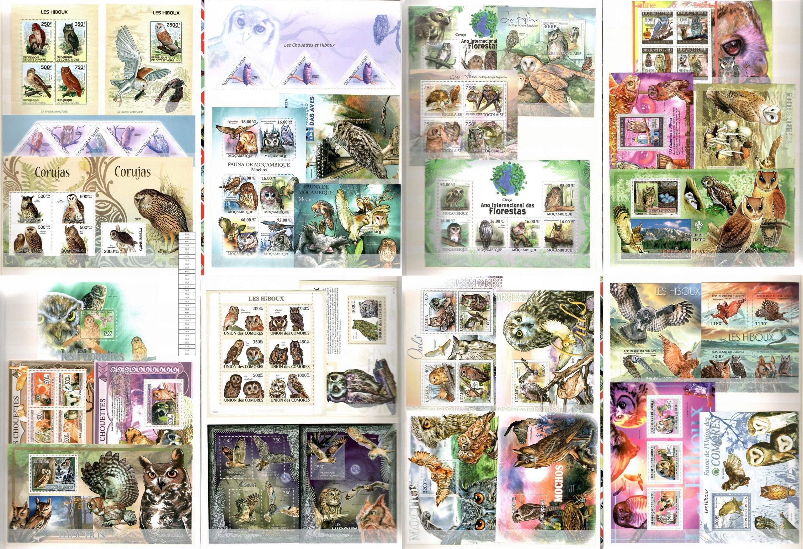 Коллекция птиц совы + штамп Mi. 400 € # CL43