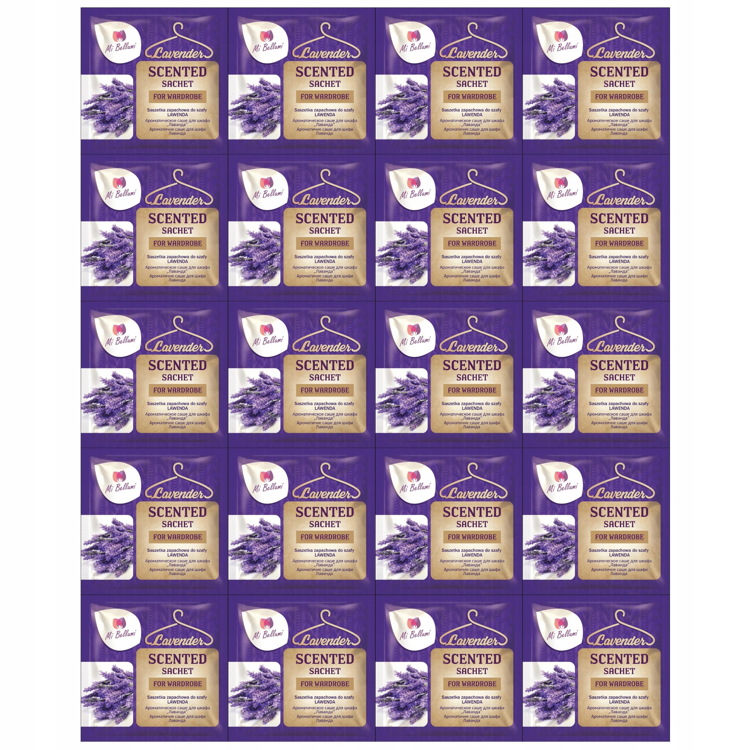 20 X SASZETKI ZAPACHOWE DO SZAFY LAWENDA 5,5 G