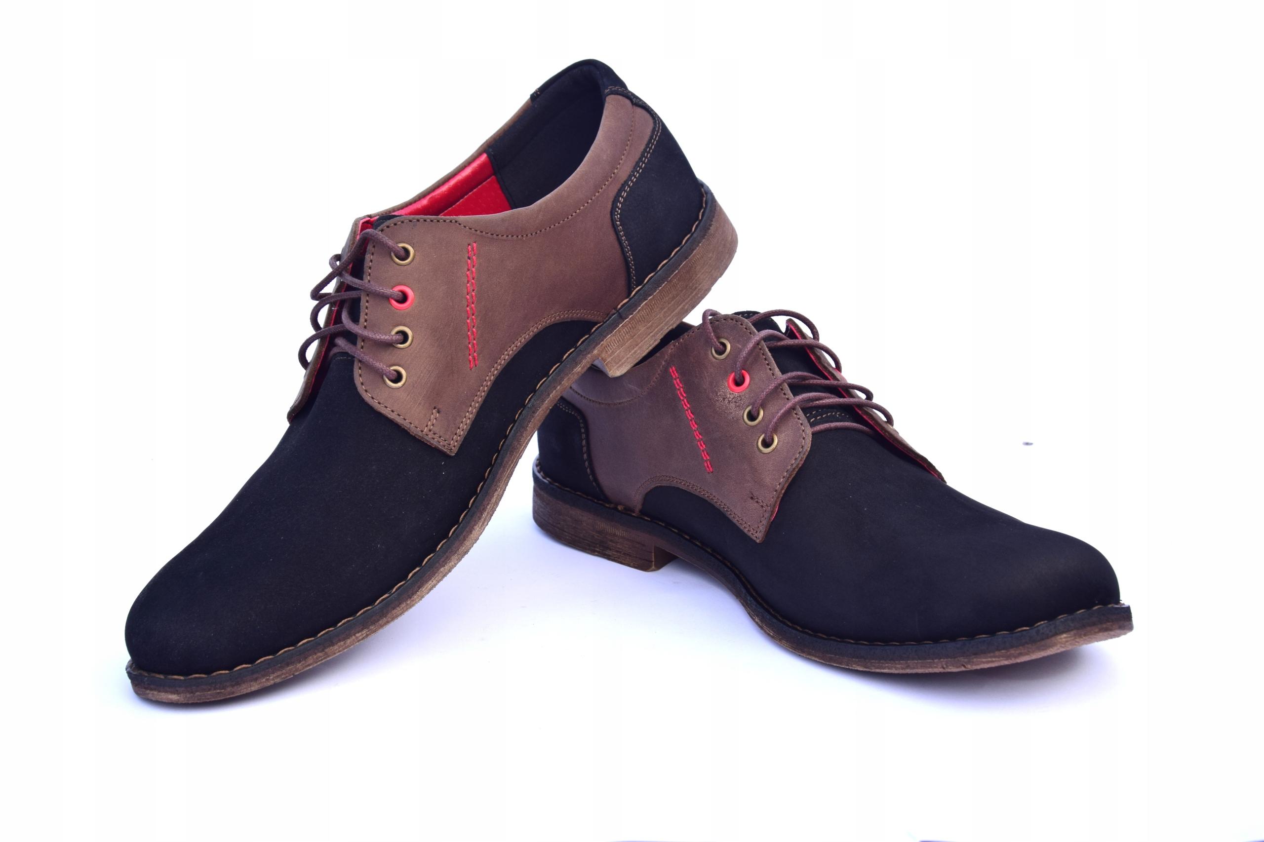 Buty skórzane męskie obuwie polskiej produkcji 258 Kolor brązowy czarny