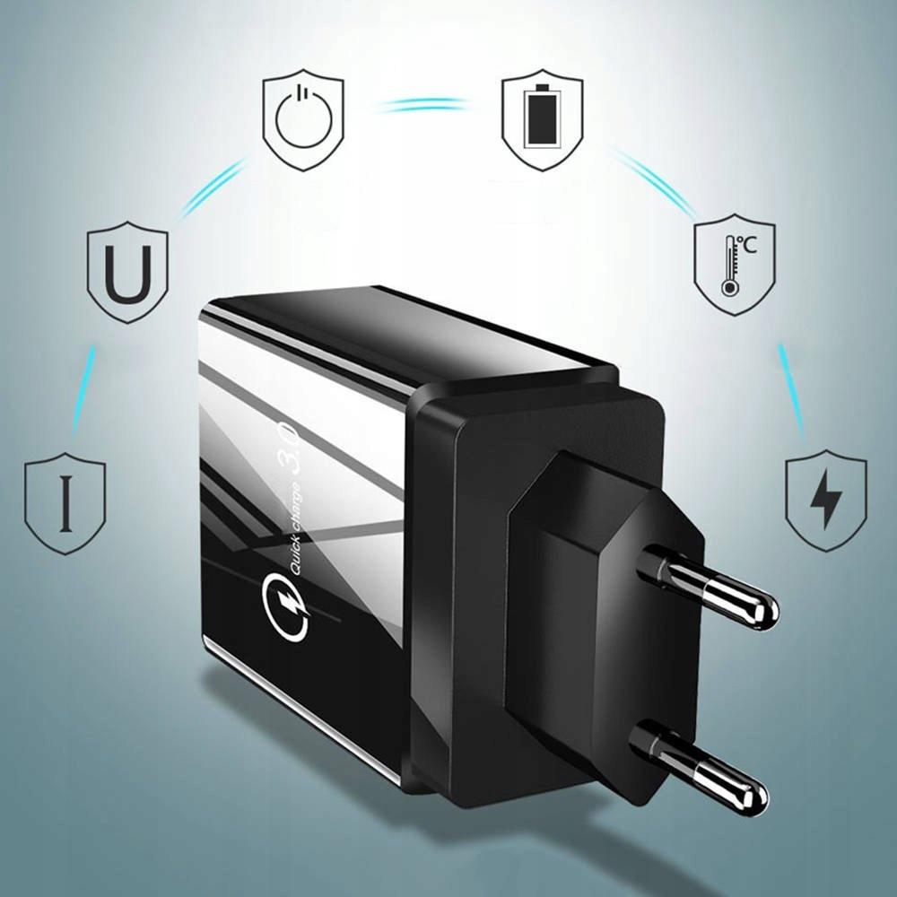 Ładowarka Sieciowa 3xUSB + USB QC3.0 Kolor czarny