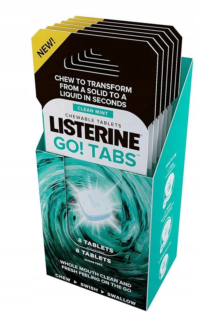 Listerine Go Tabs Tabletki Żucia Odświeżające 8szt