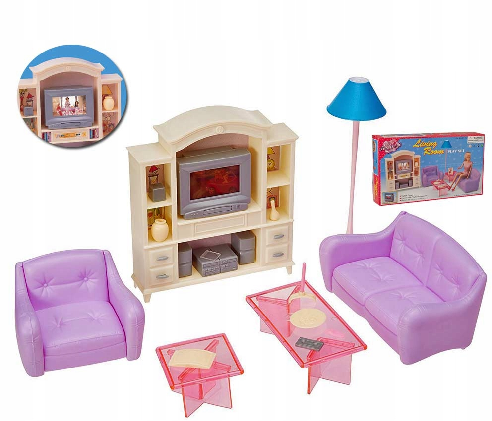 Obývacia izba pre bábiku, pohovka, televízor, propagácia nábytku RTV