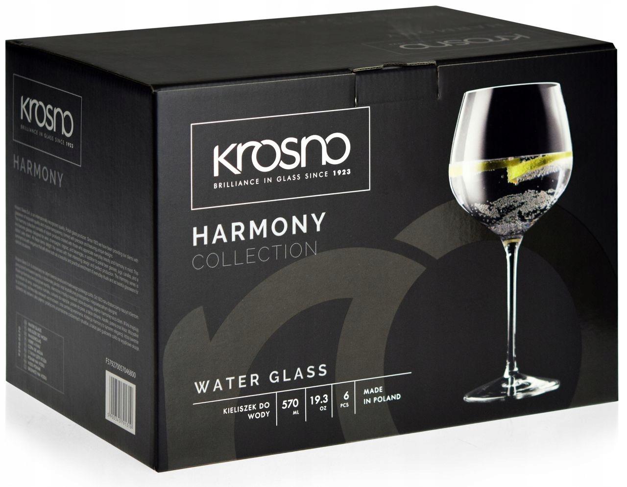 Veľké okuliare vody Krosno Harmony 570 ml