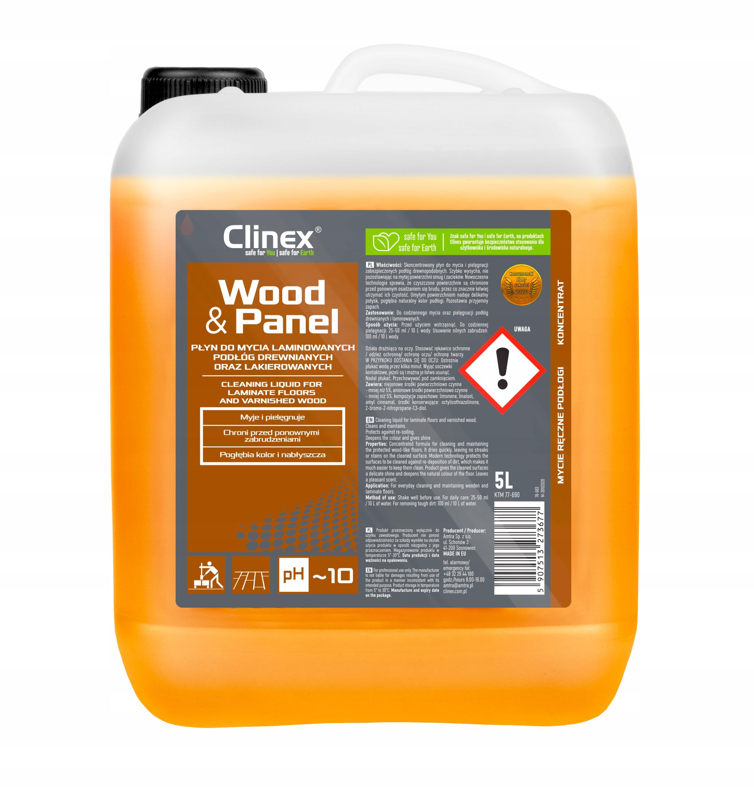 Для мытья жидкости для мытья панелей CLINEX WOOD и PANEL 5L