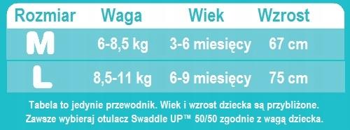 Otulacz Swaddle UP 50/50 L różowy ETAP 2 Original Zapięcie zamek