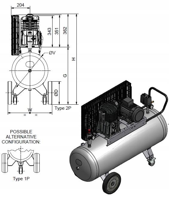 SPRĘŻARKA KOMPRESOR 200L ATLAS COPCO AC 31 E 200 M Napięcie zasilania 230 V