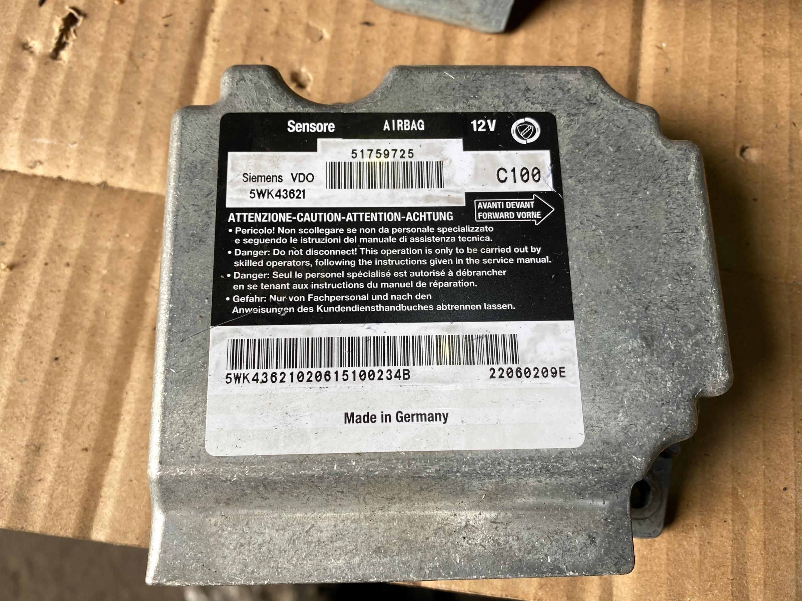fiat multipla сенсор подушек airbag 51759725