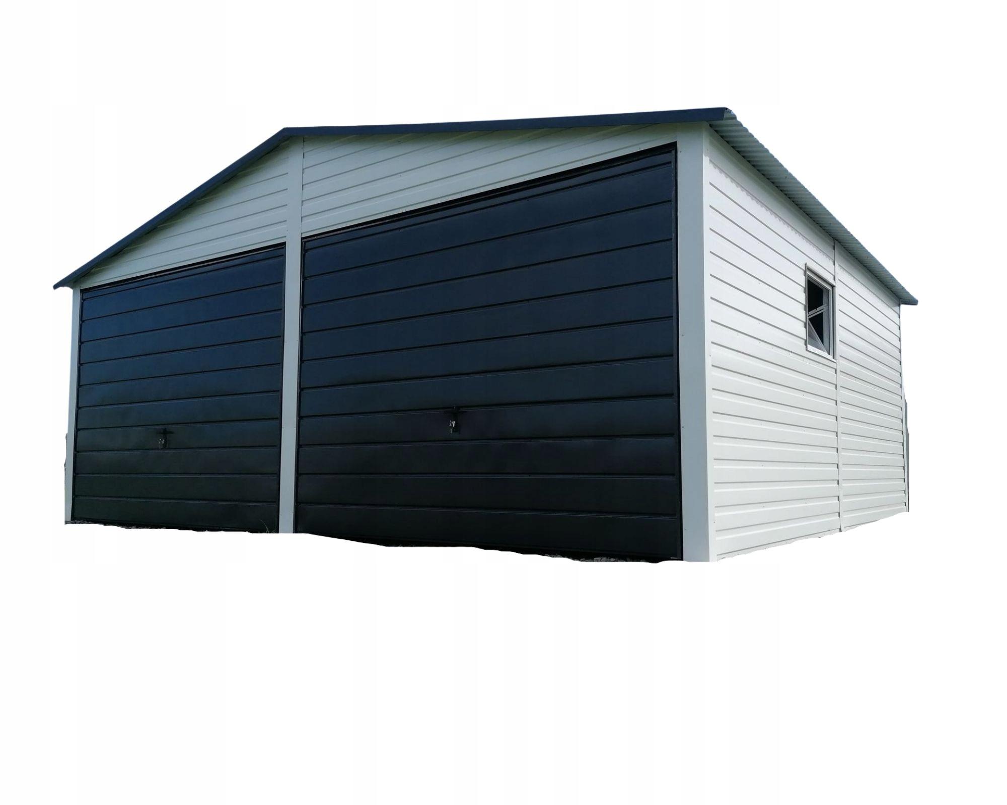 Жестяной гараж 6 х 5 белый + графит