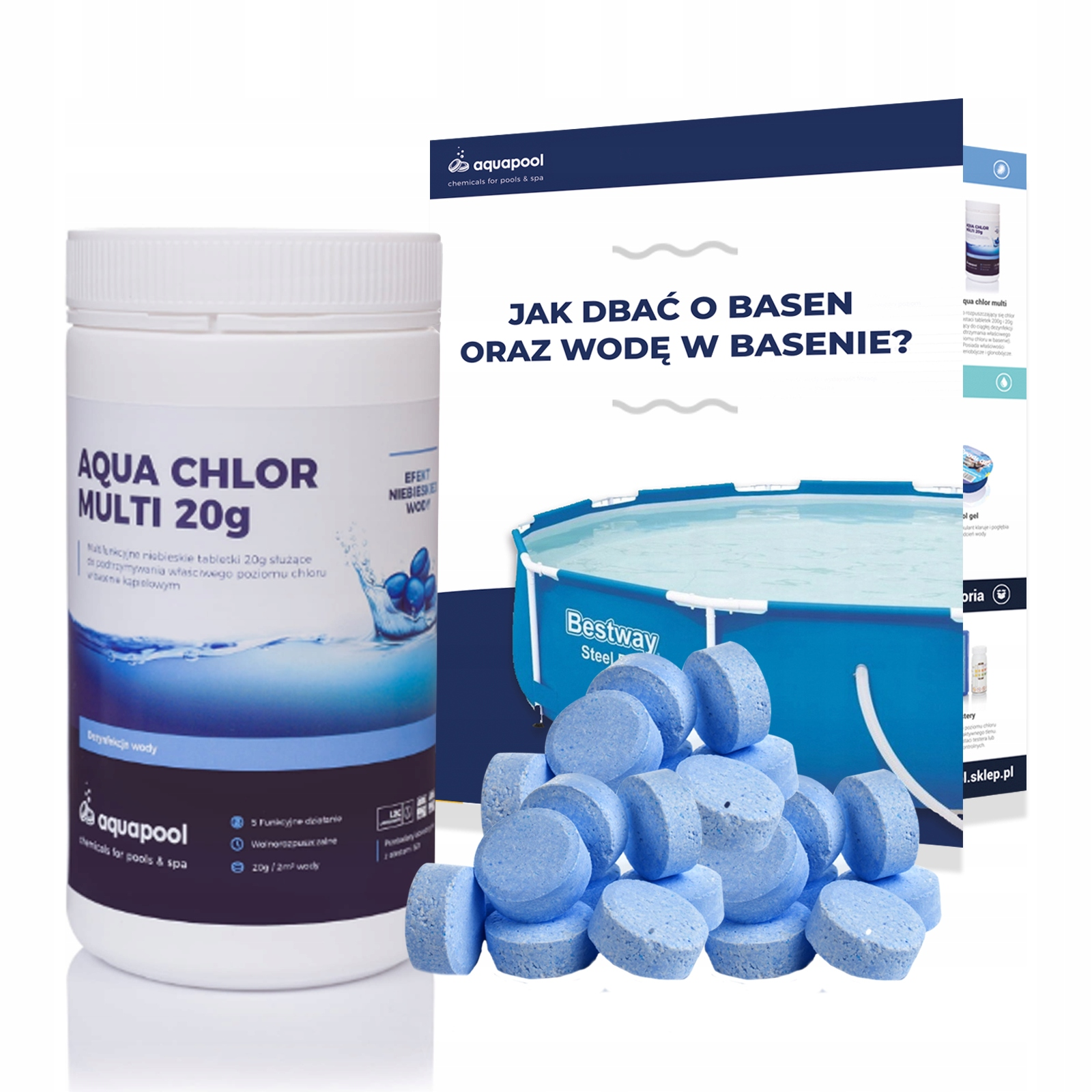 CHLOR таблетки 6w1 BLUE 20g синяя WODA 1кг