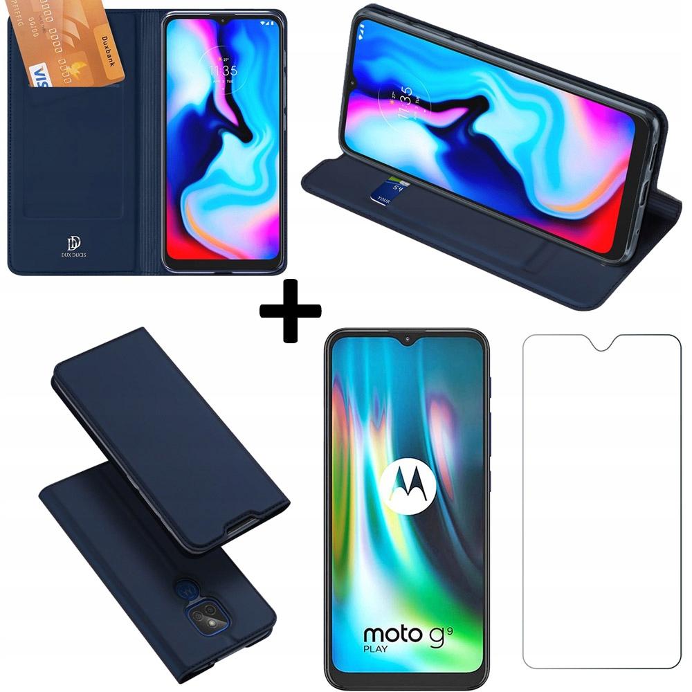 Etui z klapką+ szkło do Motorola G9 Play / E7 Plus