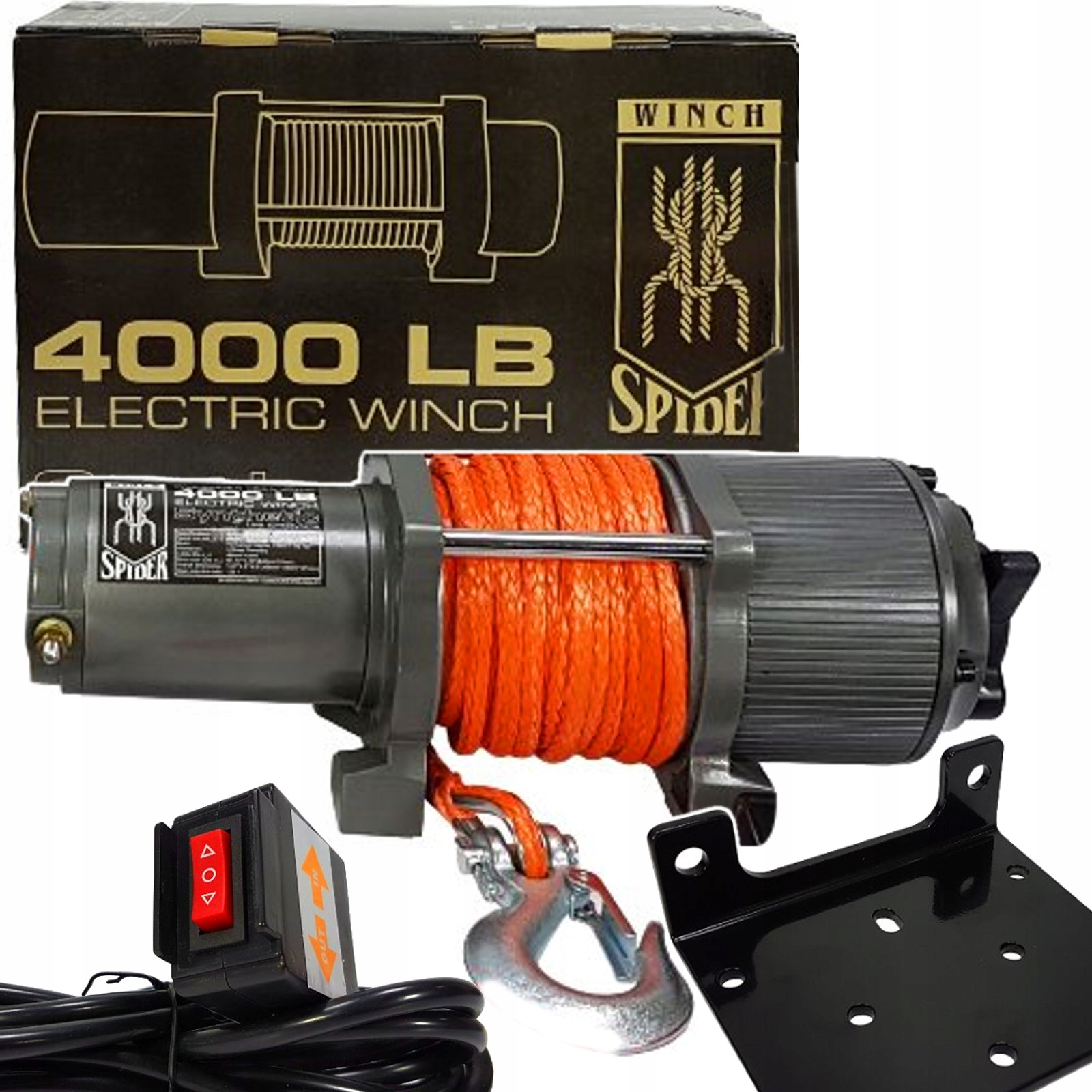 ЛЕБЕДКА 12V QUAD WINCH PLOWER 4000LBS