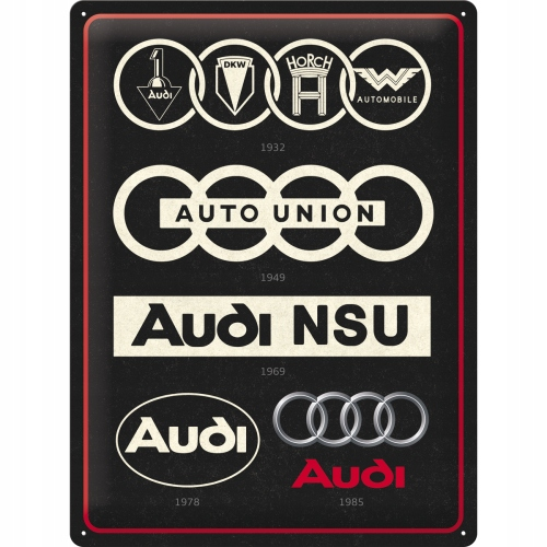 METAL POSTER AUDI LOGO EVOLUTION RETRO GADGET