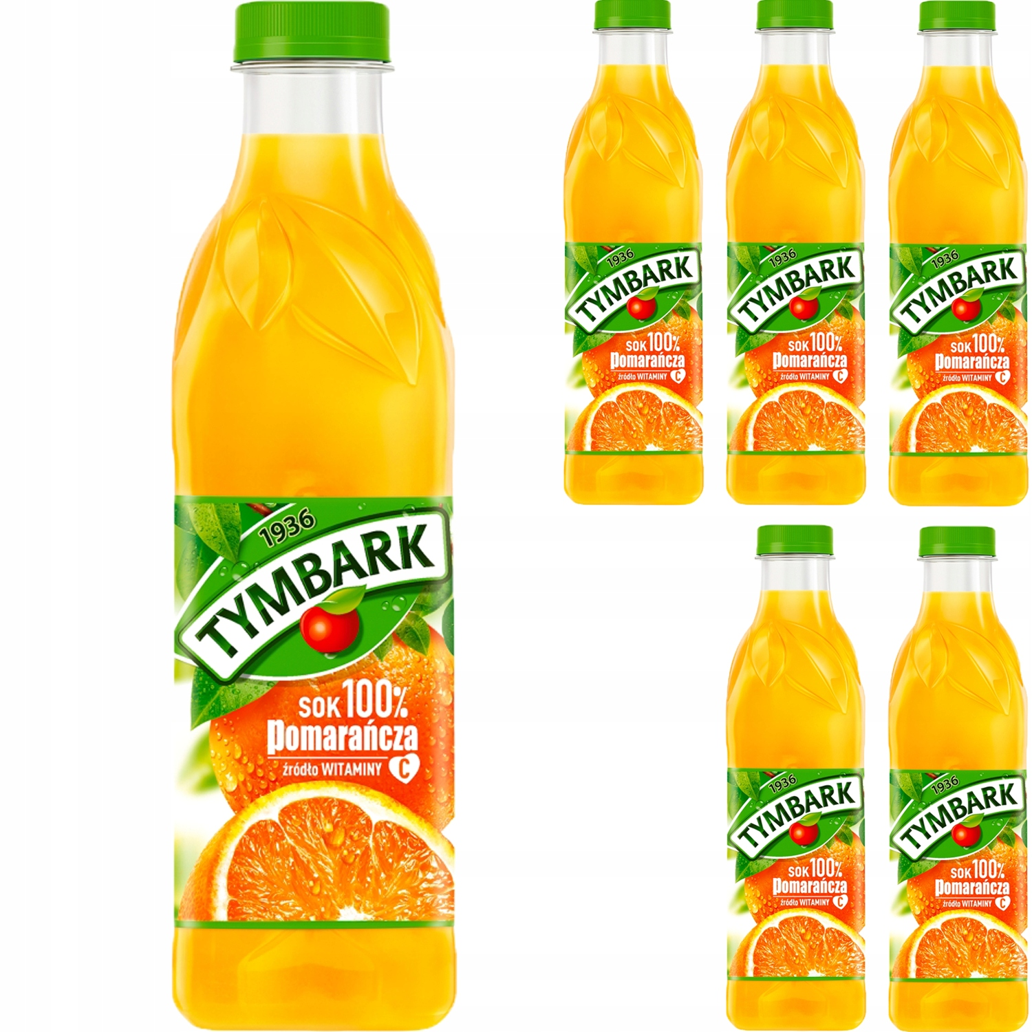 Tymbark Juice 100% Orange, источник витаминов 6x 1л