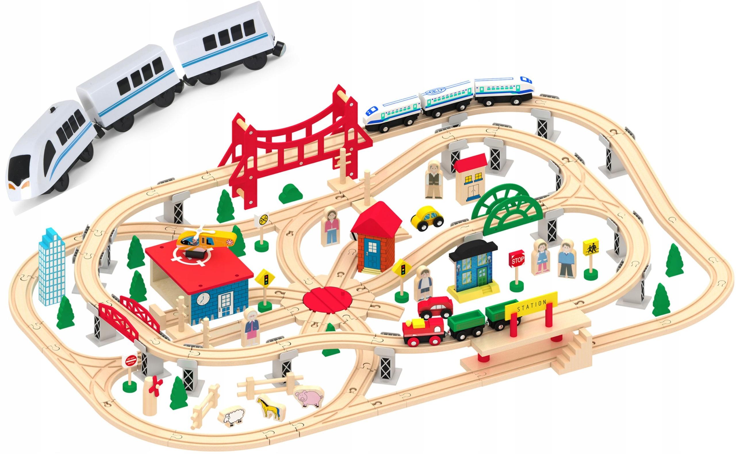 Kolejka drewniana Mega City + pociąg Electric 700