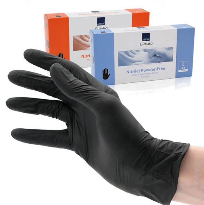 Перчатки защитные Abena черные L 200 шт.
