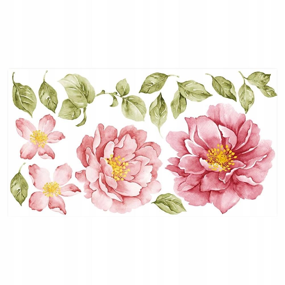 1 ks Pivoňka Retro kvetinové samolepky na stenu