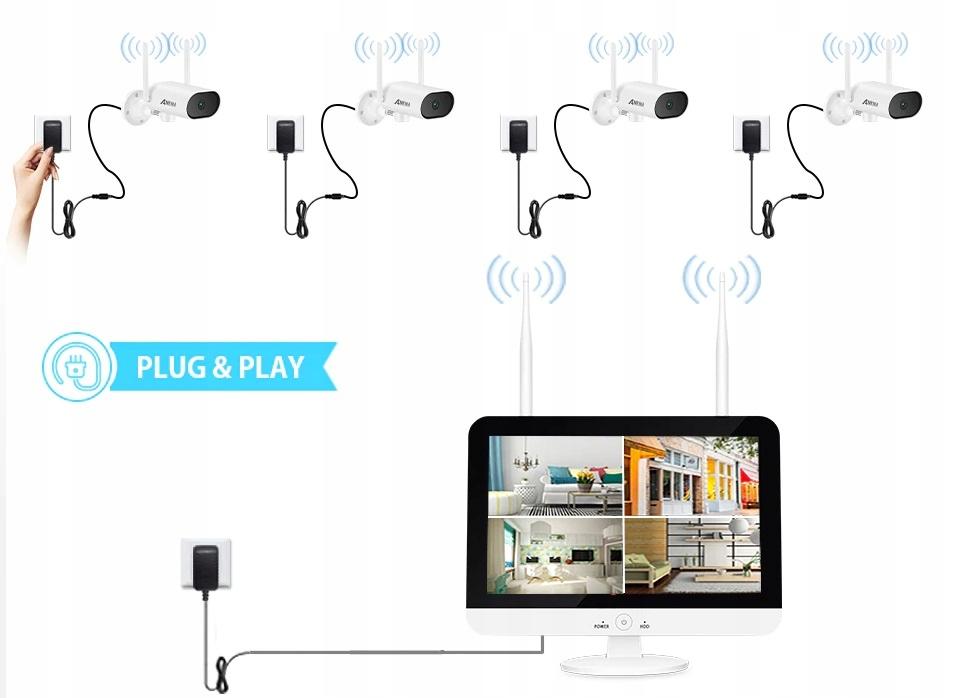 Zestaw Monitoringu 6 Kamer Zewnętrznych obrotowych Liczba obsługiwanych kamer 8