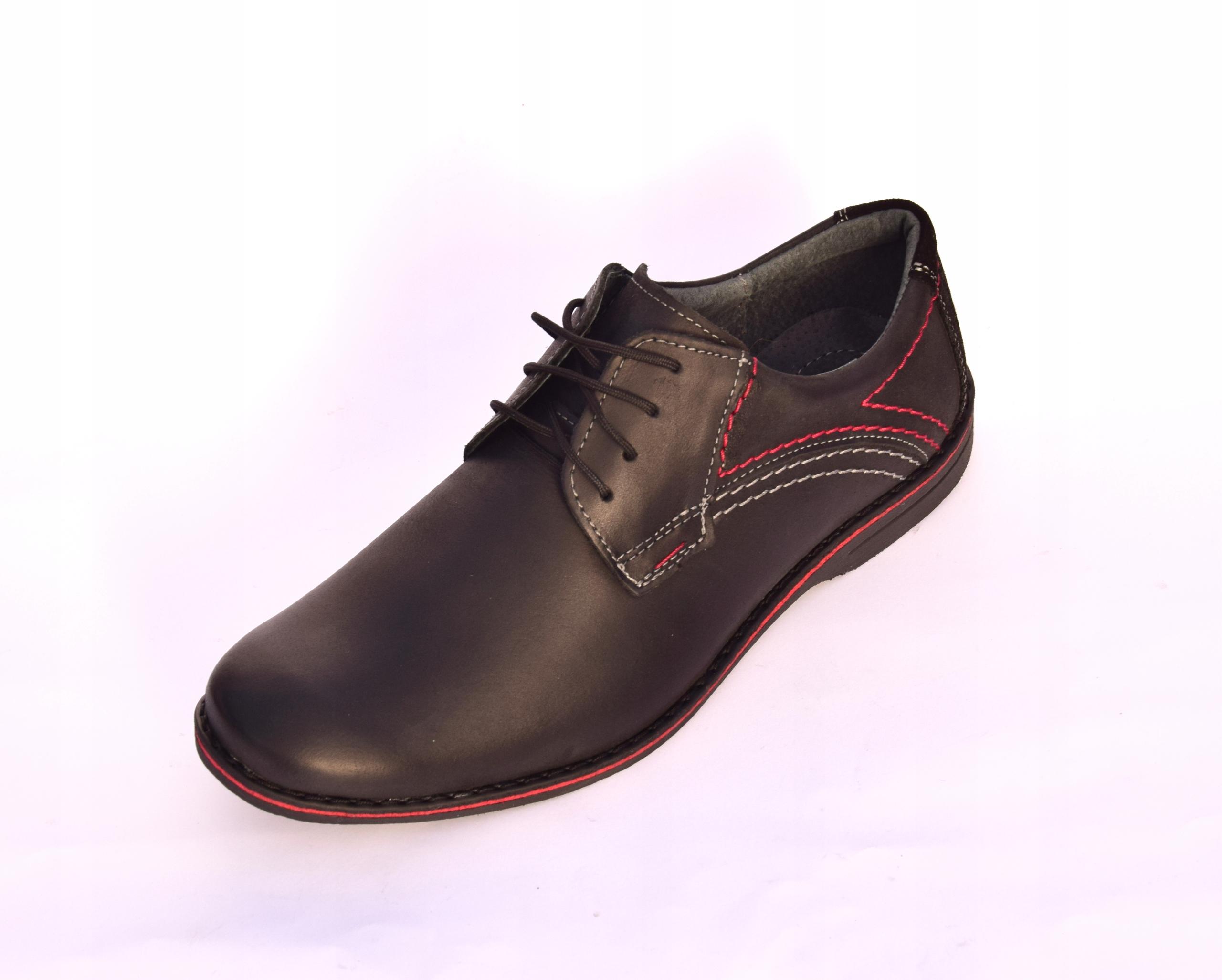 Buty męskie casual obuwie skórzane polskie 242 Kolor czarny