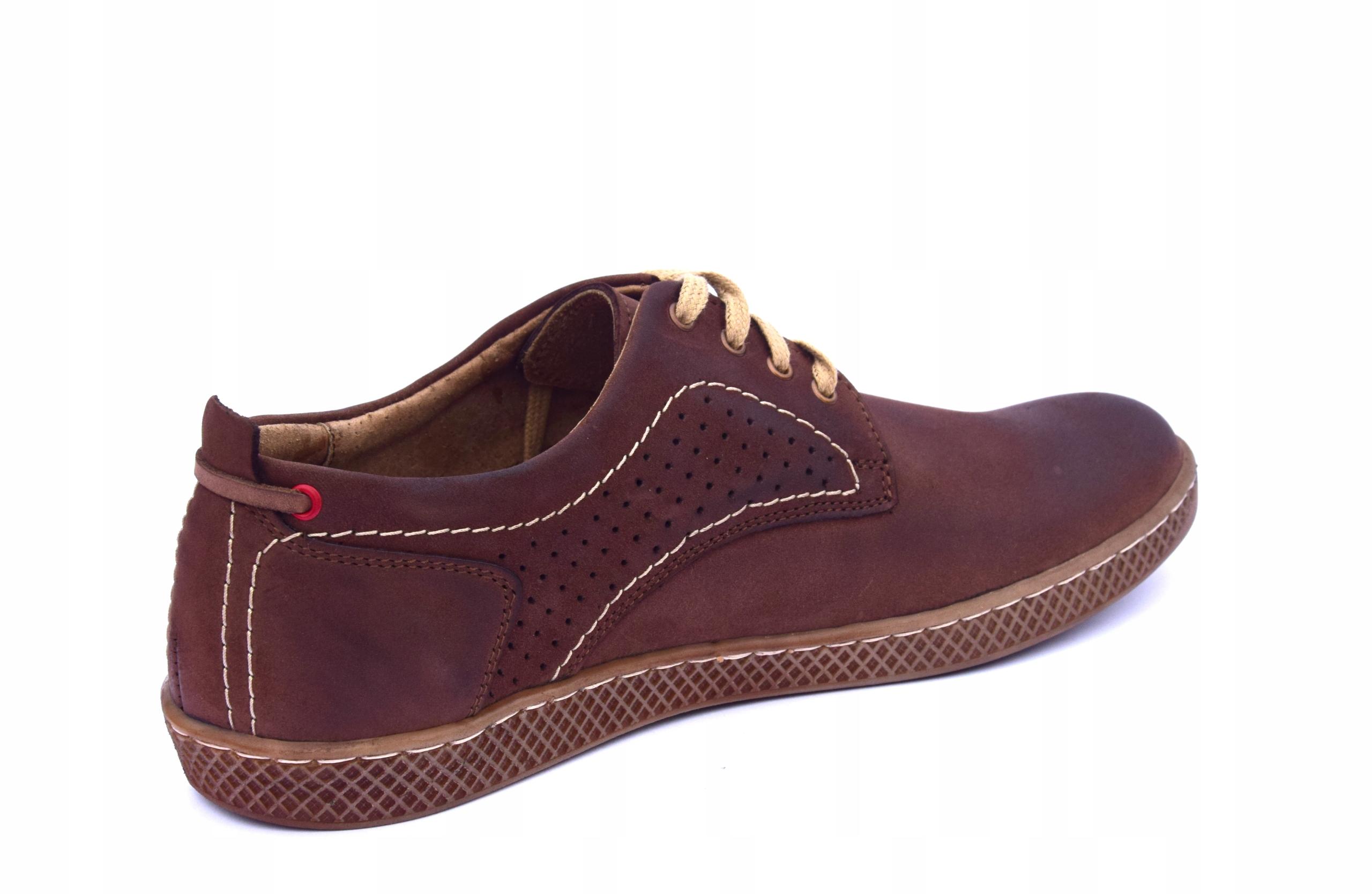 Półbuty skórzane męskie brązowe buty polskie 302 Długość wkładki 27 cm