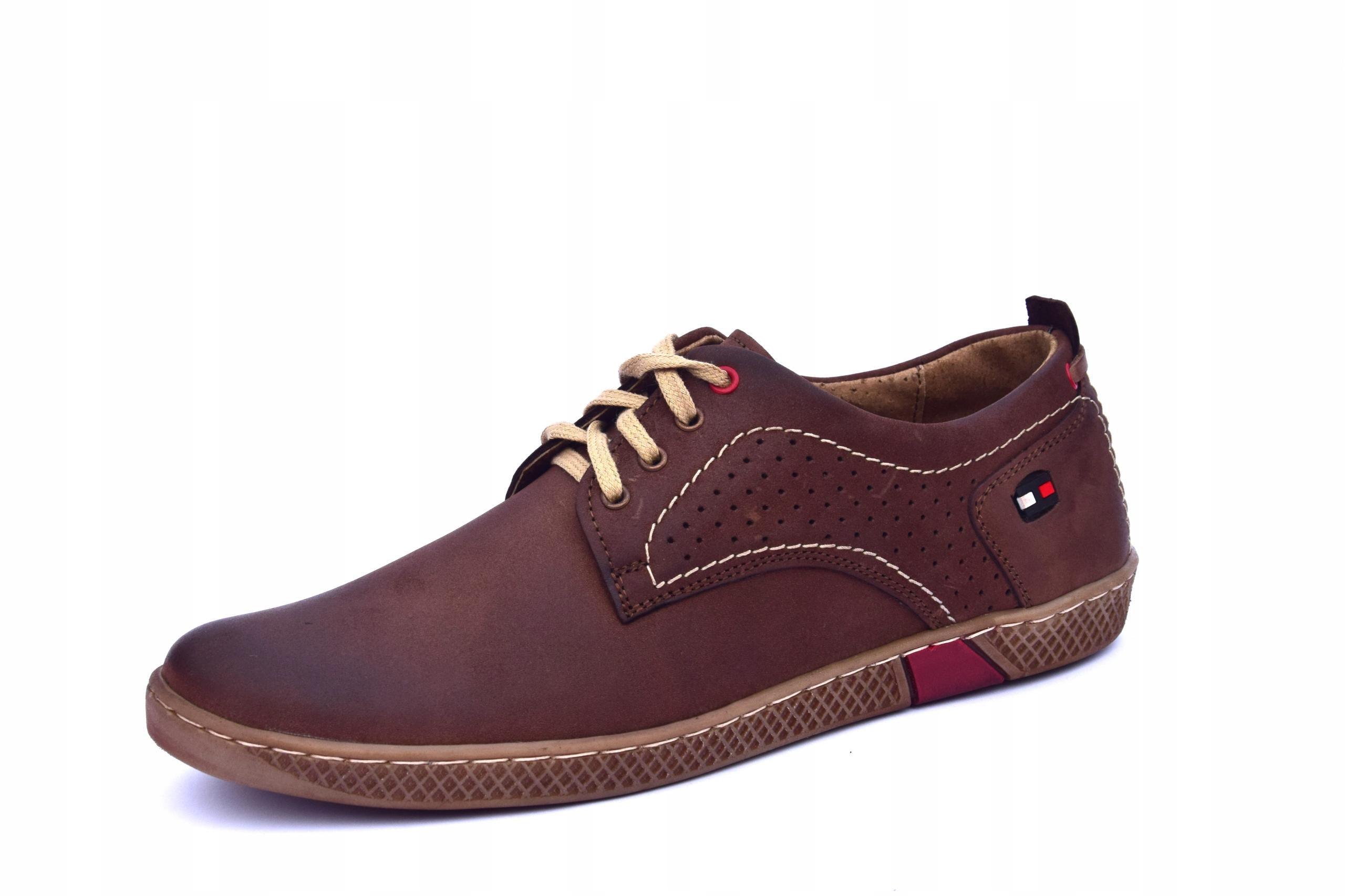 Półbuty skórzane męskie brązowe buty polskie 302