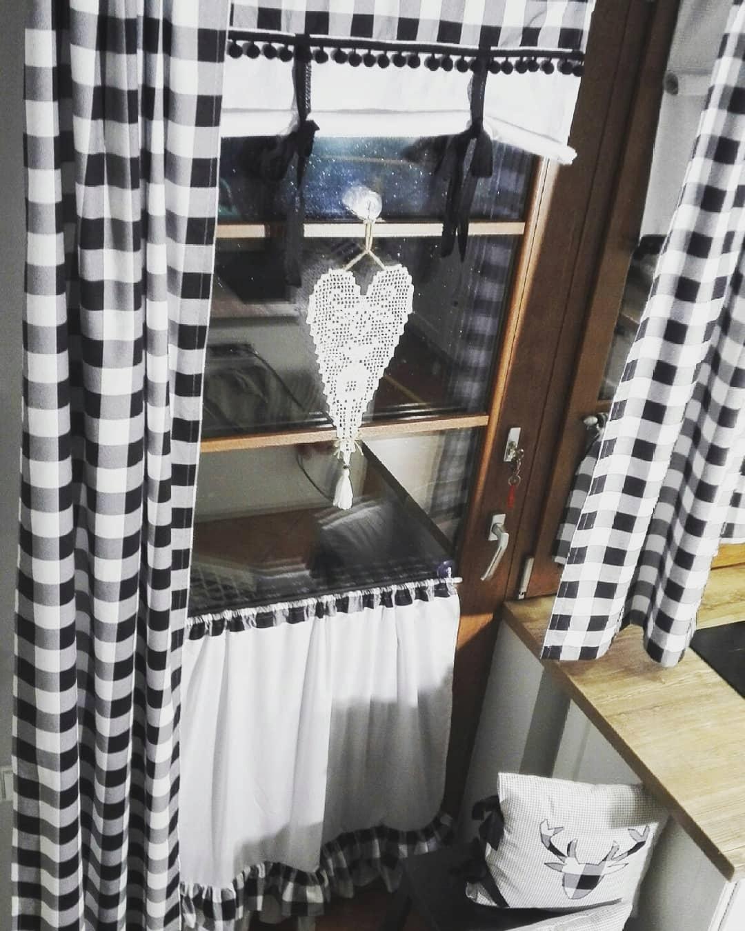 Čiernobiele retro záclony boho 110 / 150cm