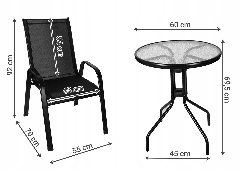 Meble na Balkon Ogród Taras Komplet Stół 2 Krzesła Kod producenta Zestaw Mebli do Ogrodu Tarasu