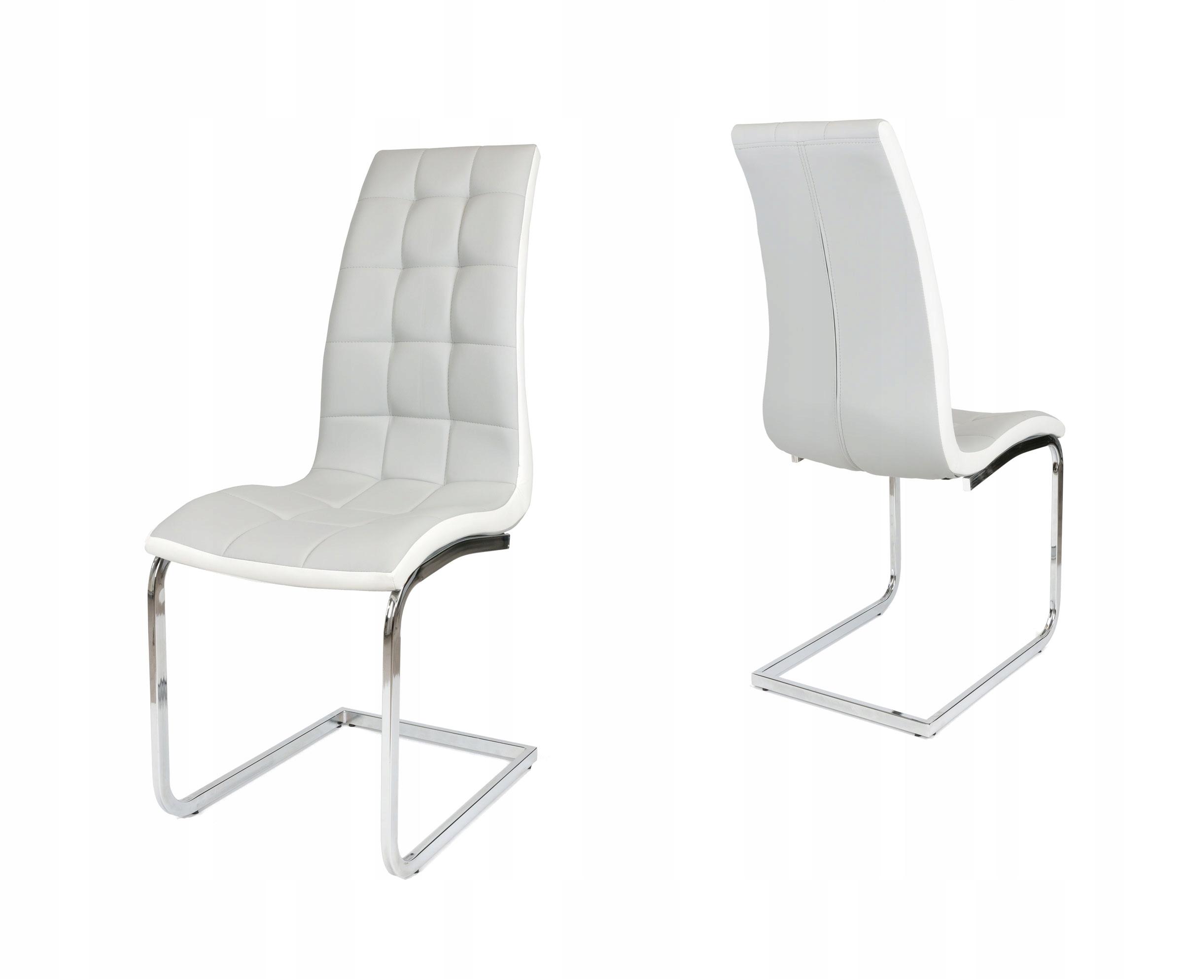 Jasnoszare krzesło do kuchni chrom bujak KS027 JSZ