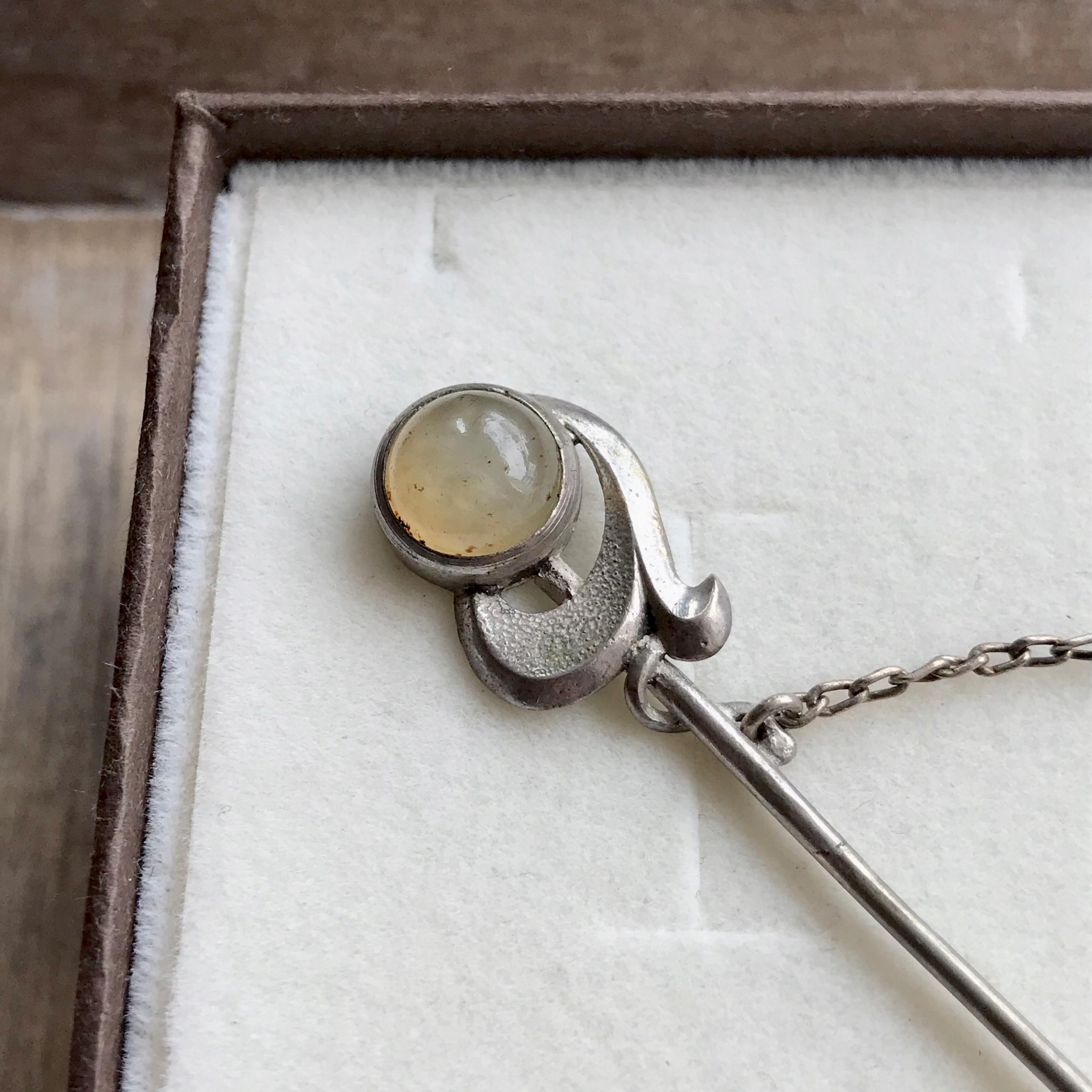 Старинная серебряная булавка с халцедоном Warmet 800