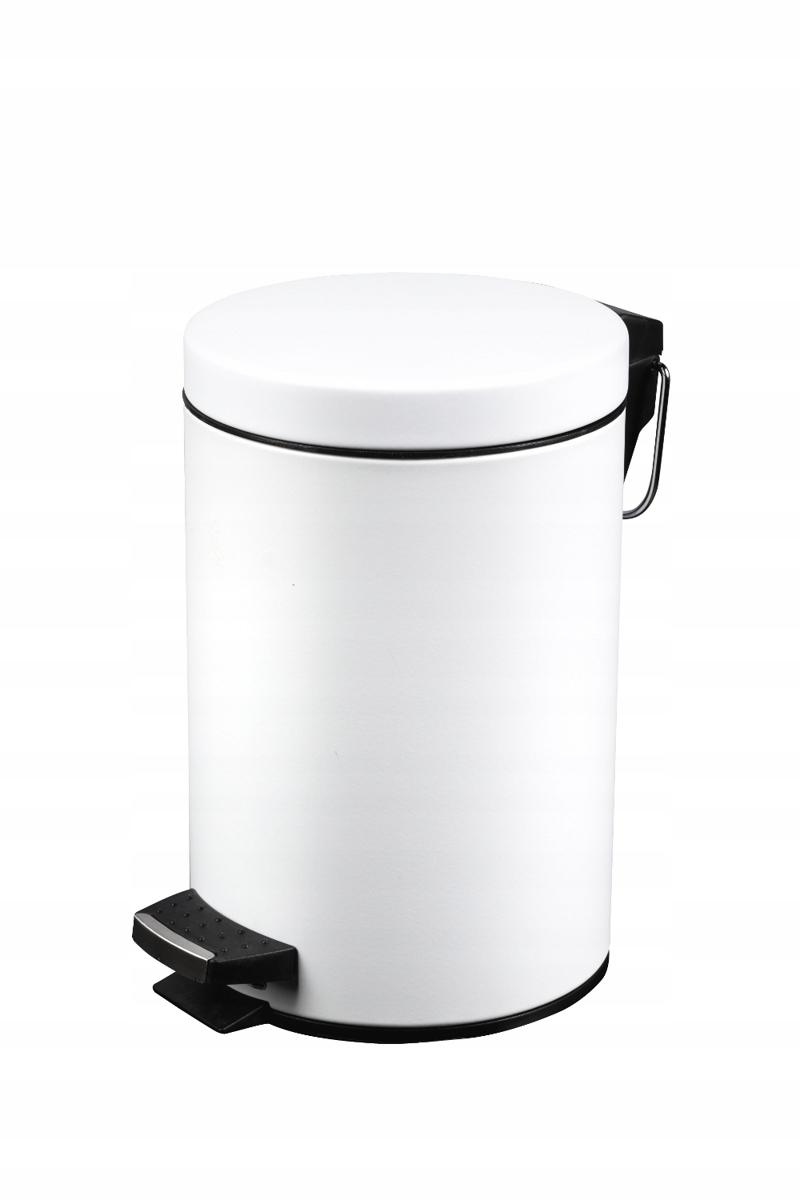 Odpadkový kôš do kúpeľne s pedálom 5L biela oceľ