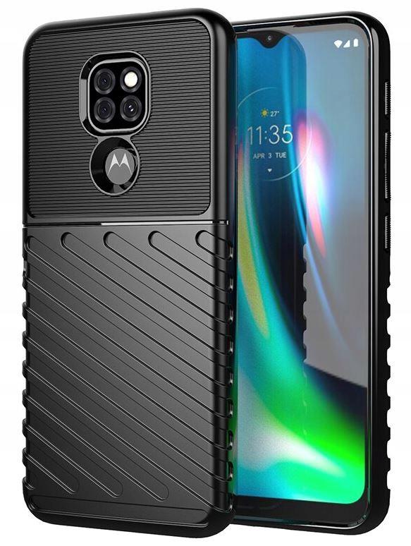 Etui do Motorola Moto G9 Play Pancerne Case +Szkło Kolor czarny