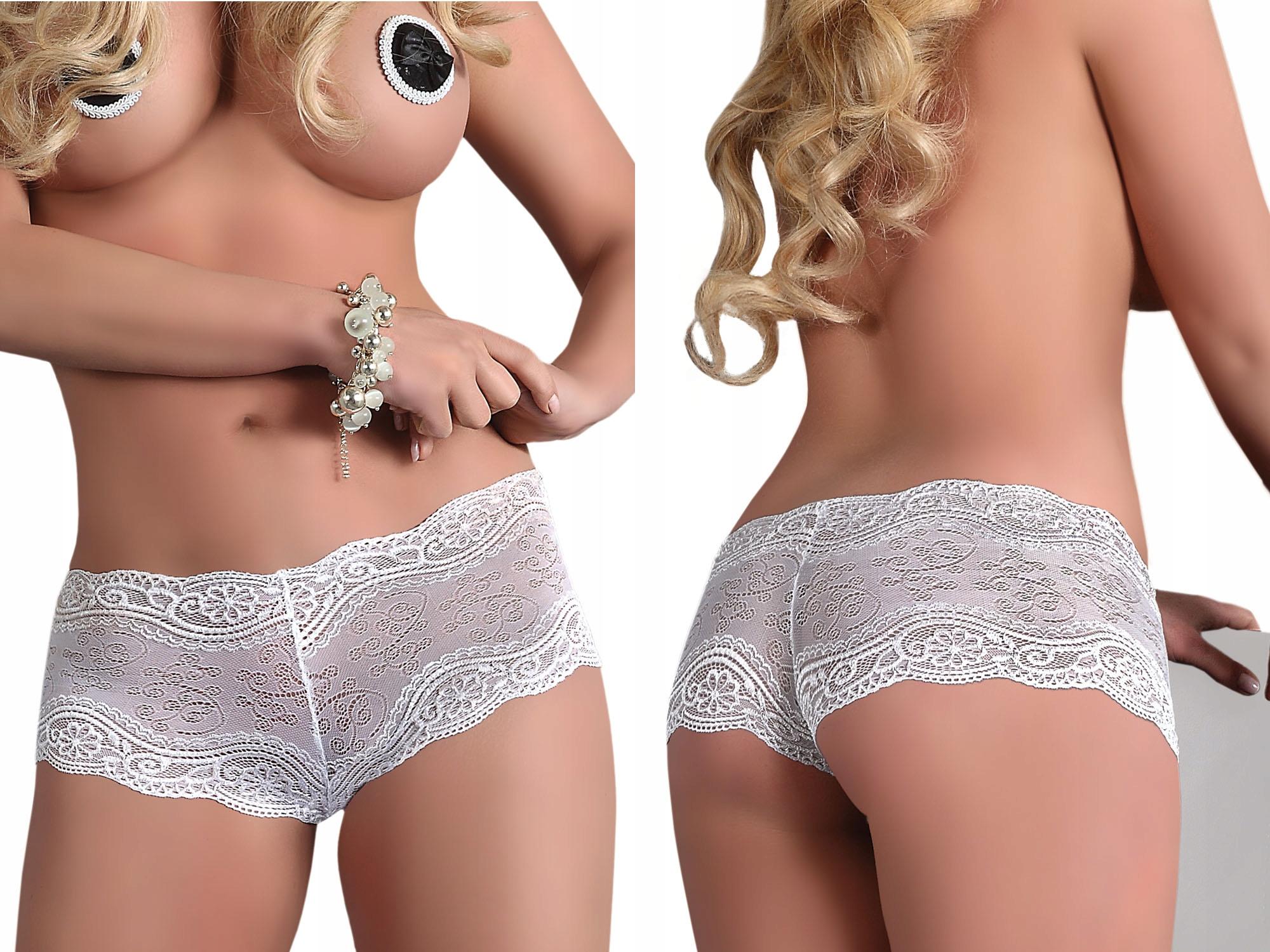 Eleganckie koronkowe majtki szorty białe XL