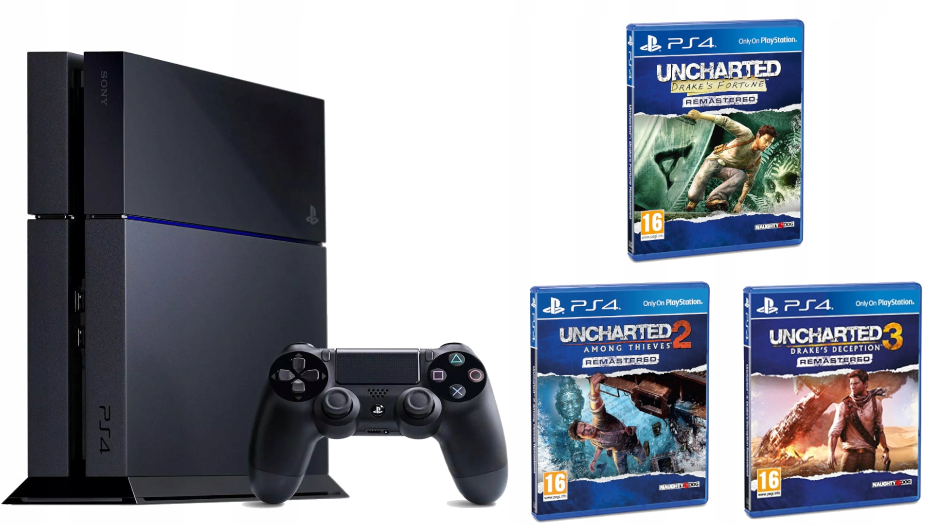 Item SET PS4 500GB + PAD + 3 GAMES ON VACATION