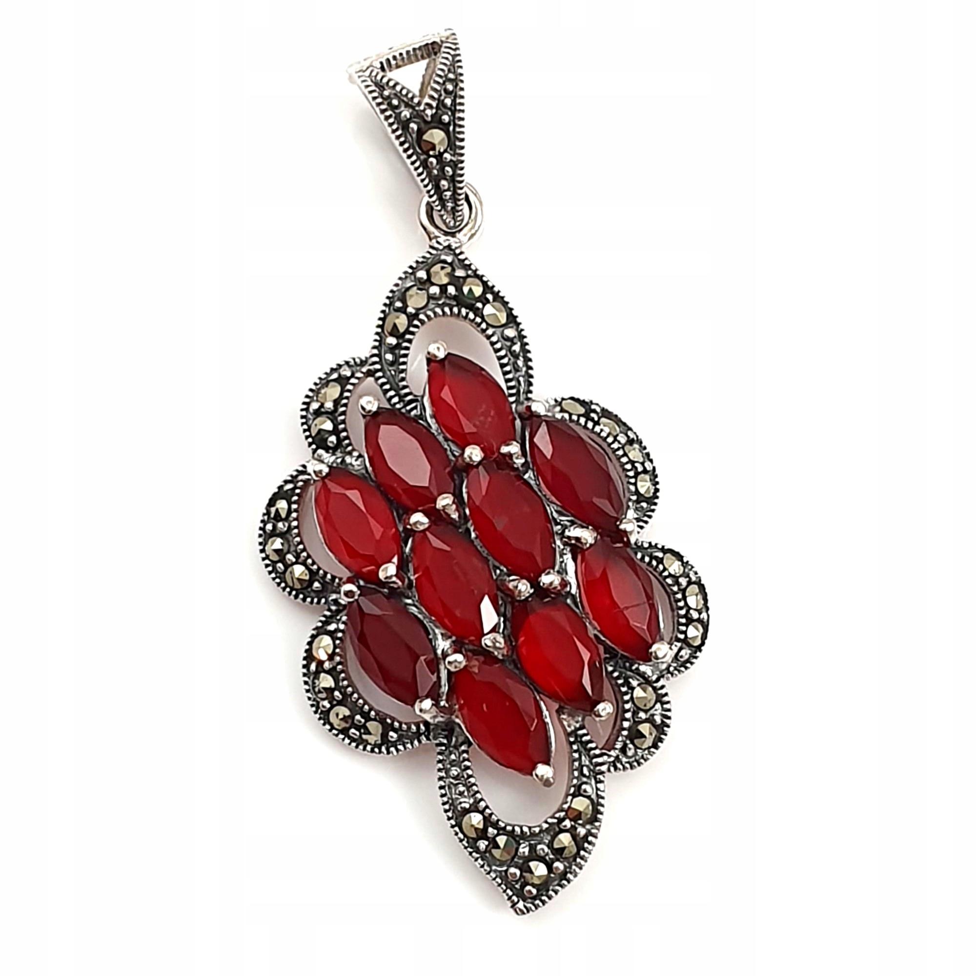 Mincový striebro prívesok s ruby markazytami