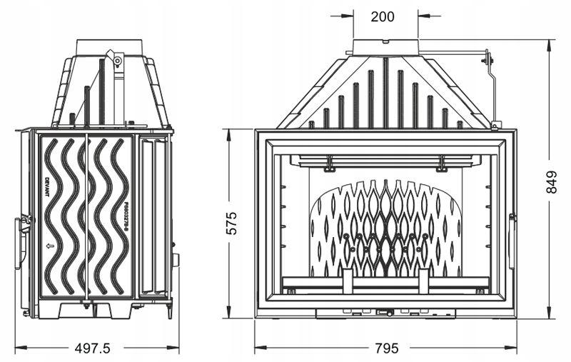 Wkład kominkowy INVICTA 800 GRANDE VISION szybe+DP Marka UNIFLAM