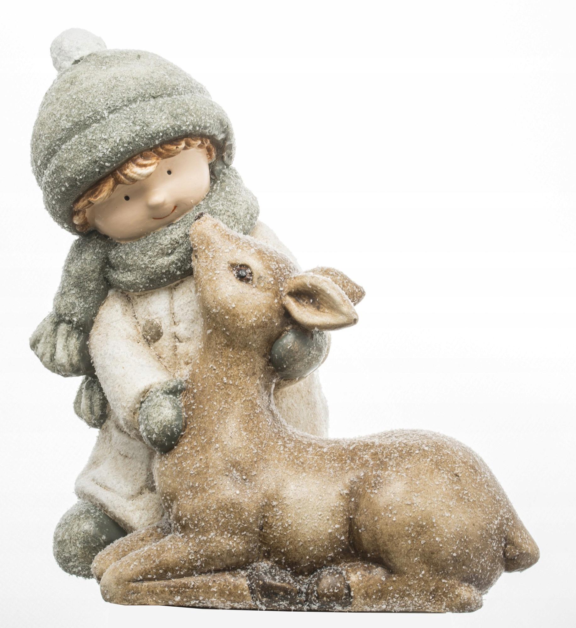 Новогодняя фигурка зимний мальчик и олень 32х28