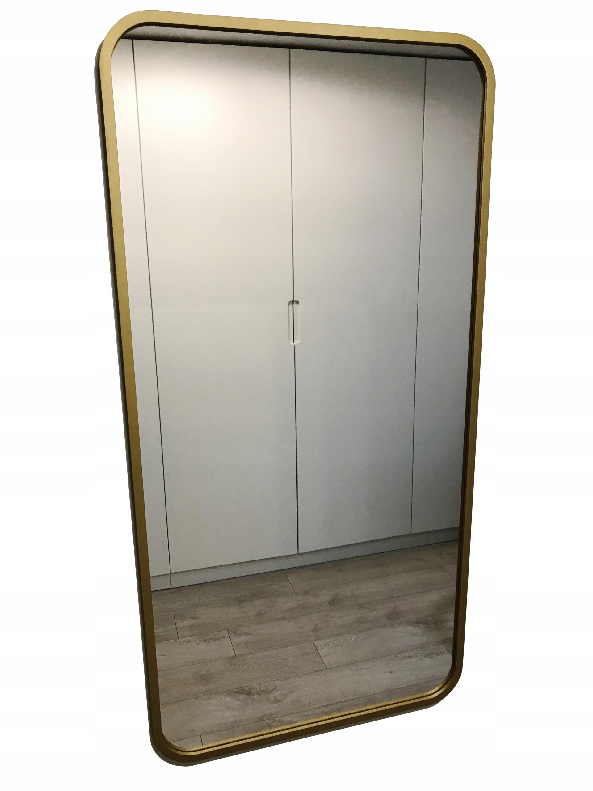 Прямоугольная, закругленная, золотое зеркало, 50x110 см