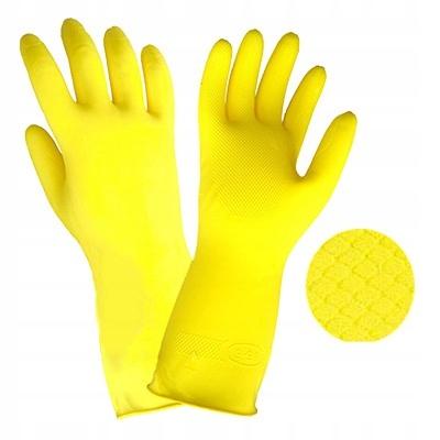 Rękawice gospodarcze lateksowe flokowane ŻÓŁTE L